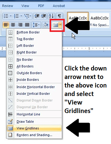 Set Microsoft Word settings to view gridlines